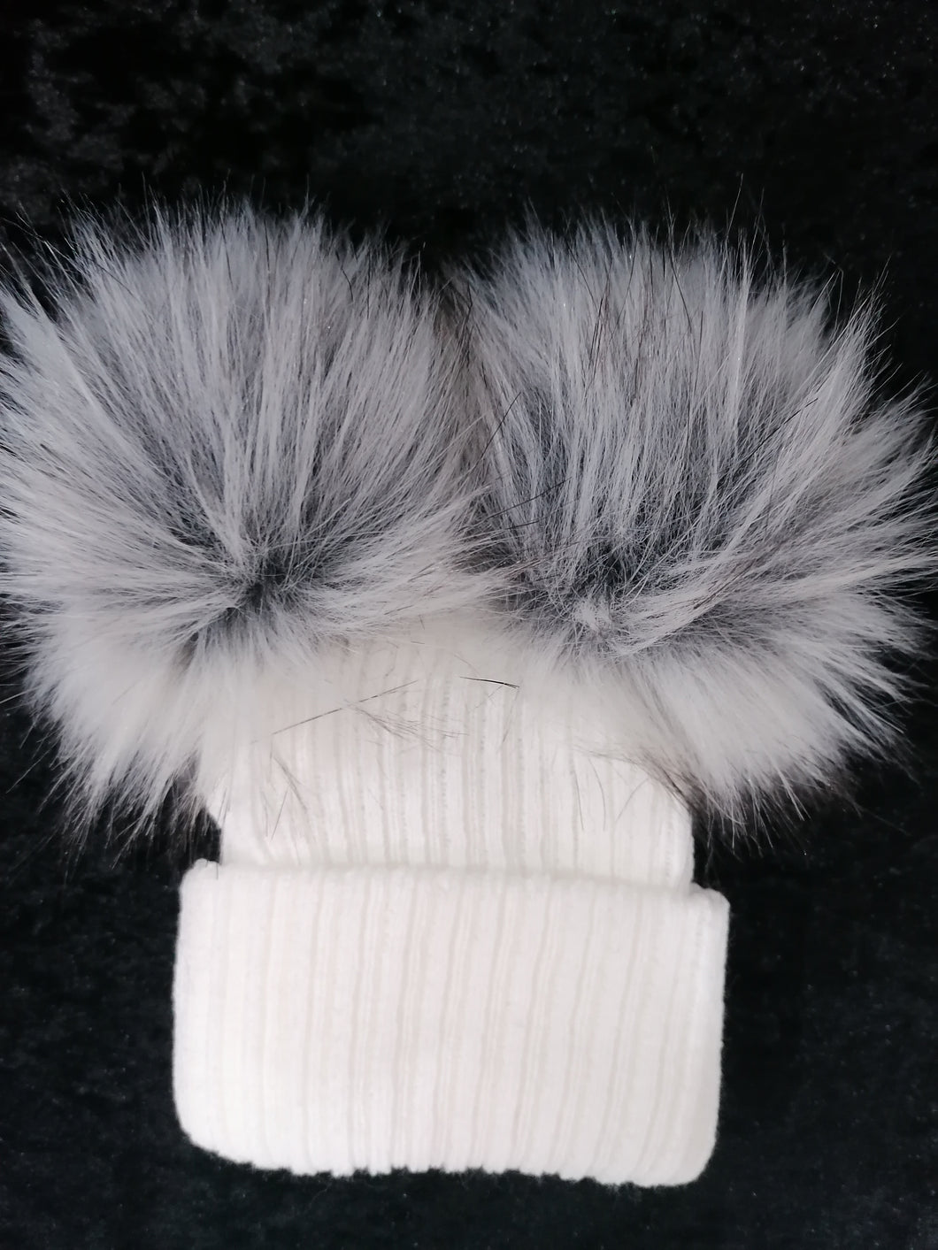 White Two Pom Hat