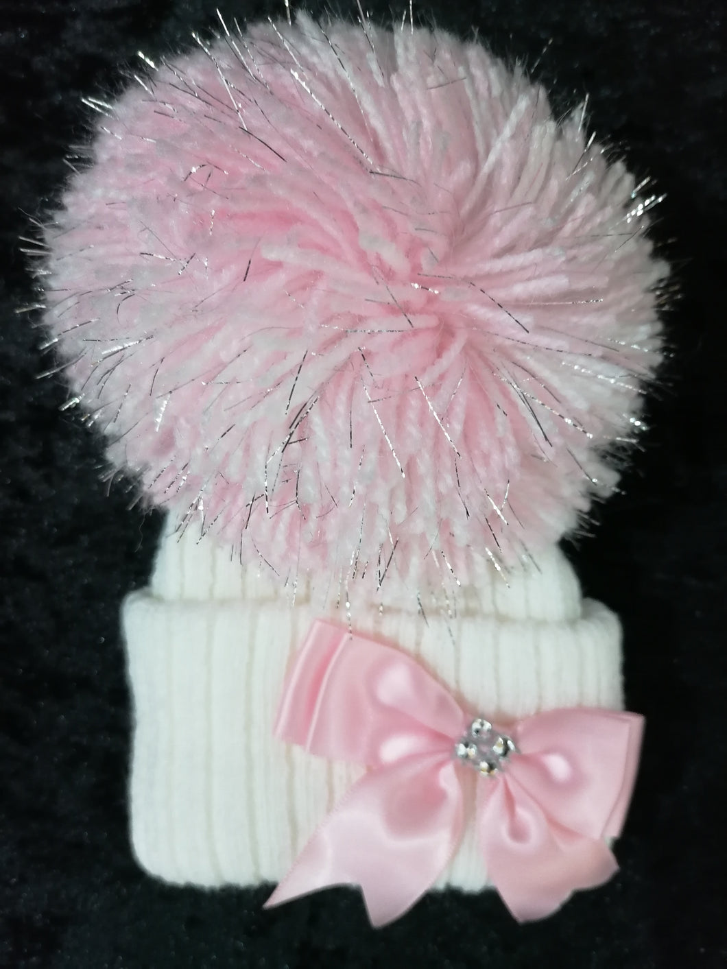White Hat with Pink Pom