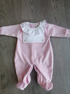 Pink Velour Sleepsuit