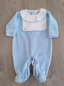 Boys Blue Velour Sleepsuit
