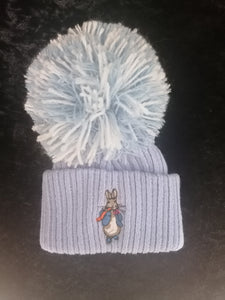 Peter Rabbit Blue 1 large Pom Hat