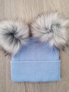 Blue Two Large Pom Hat
