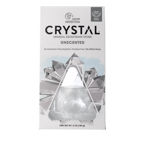 Mineral Deodorant Stone w/Dish - Unscented Crystal 5 oz