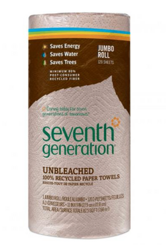 100% RECYCLED PAPER TOWELS UNBLEACHED - SEVENTH GENERATION