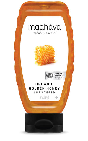ORGANIC GOLDEN HONEY 100% 16 OZ / MIEL - MADHAVA