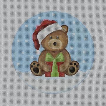 Brown Santa Bear w/Present