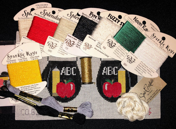 Teacher Mittens  ***COMPLETE KIT, STITCH GUIDE AND FIBERS INCLUDED***