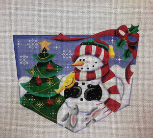 Christmas Stocking Cuff - Snowman with Tree, Yellow Bird, and Bunnies