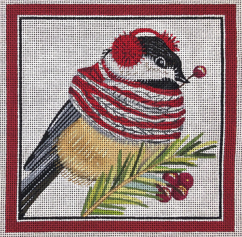 Bird with Ear Muffs and Scarf