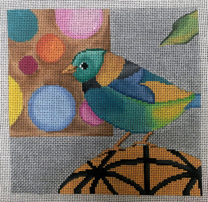 Bird with Polka Dots Background