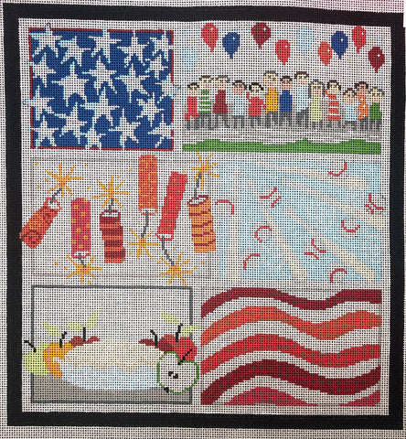 Patriotic Canvas with Stitch Guide Included