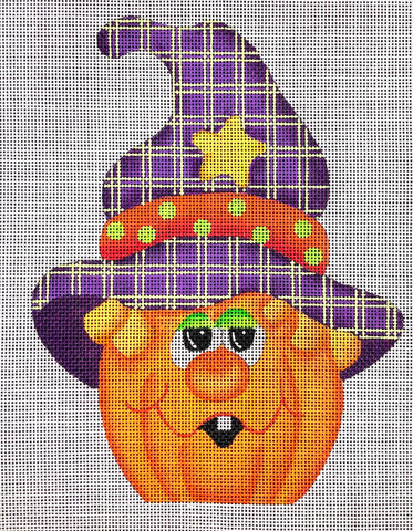 Whimsical Pumpkin with Plaid Hat