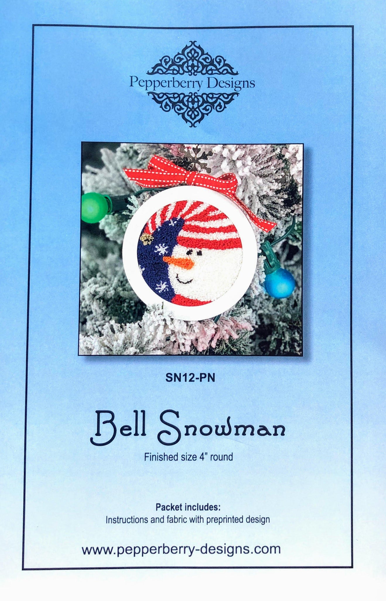 Bell Snowman - Punch Needle Design