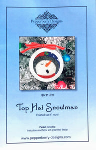 Top Hat Snowman - Punch Needle Design