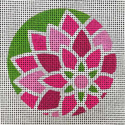 "Graphic Design Flower Pink/Green ***Fits 3"" Round self finishing items***"