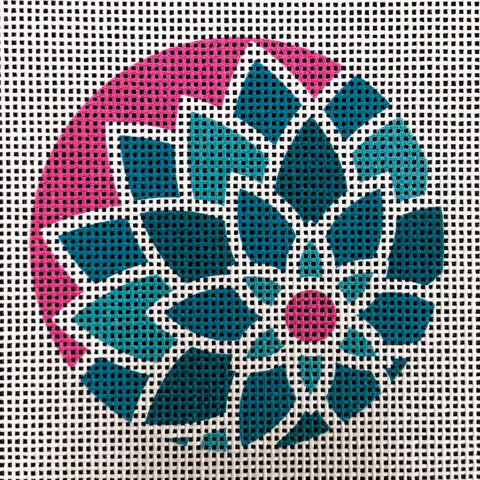 "Graphic Design Flower Teal Blue/Pink ***Fits 3"" Round Self Finishing Items***"