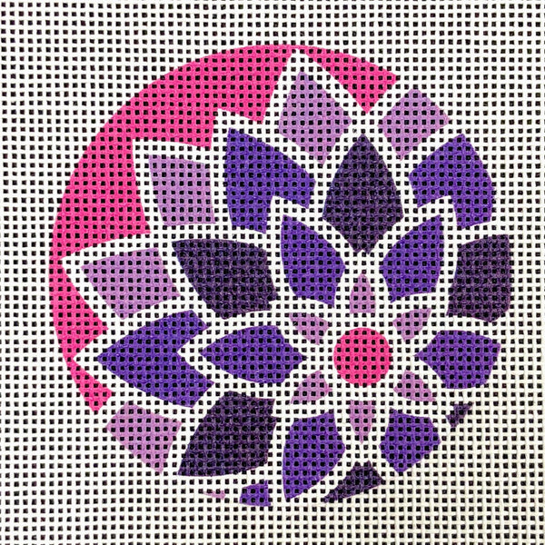 "Graphic Design Flower Purple/Pink ***Fits 3"" Round Self Finishing Items***"