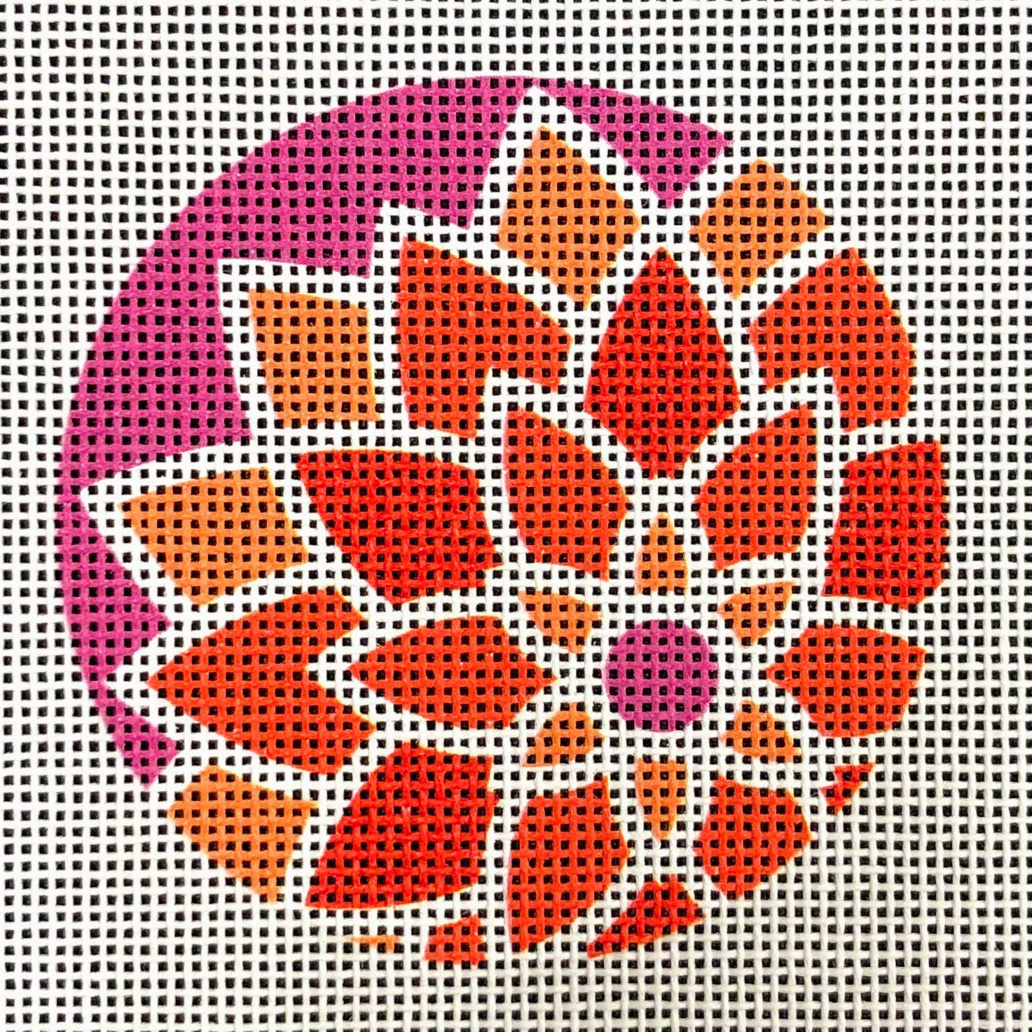 "Graphic Design Flower Orange/Purple ***Fits 3"" Round Self Finishing Items***"