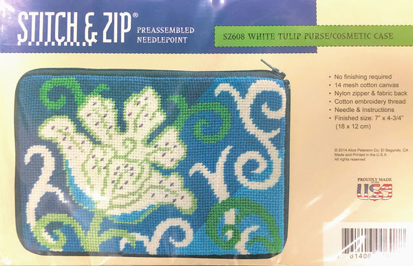 Stitch & Zip White Tulip Cosmetic Purse