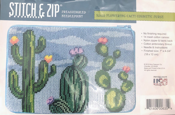 Stitch & Zip Flowering Cacti Cosmetic Purse