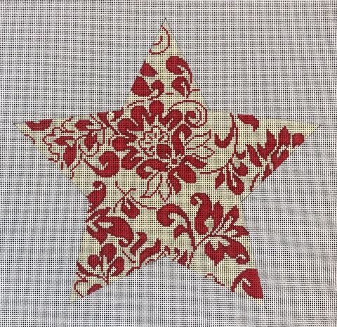 "Star Tree Topper, Large - Bill's 9"" Tree Topper Star-Red & Ivory"