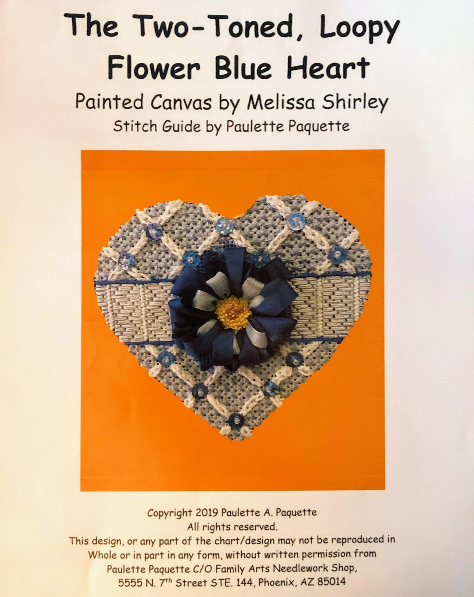 The Two-Toned, Loopy Flower Blue Heart - Canvas and Stitch Guide