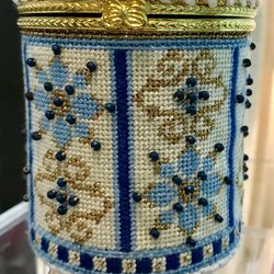 Blue & Gold Floral Hinged Box with Hardware