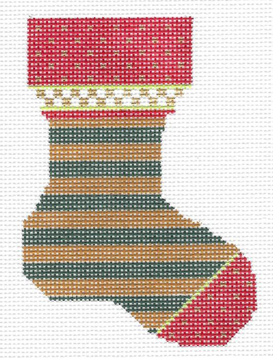 Micro Sock: Forest & Honey Striped Sock