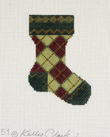 Dark Red & Green Argyle Sock