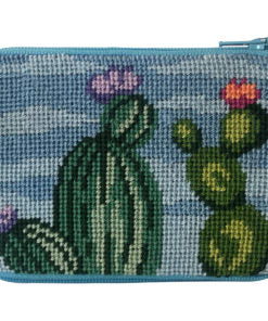 Stitch & Zip Flowering Cacti Coin Purse/Credit Card Case