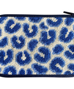 Stitch & Zip Navy Leopard Coin Purse/Credit Card Case