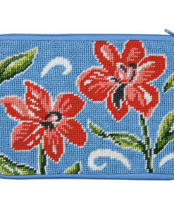 Stitch & Zip Red Floral Cosmetic Purse