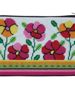 Stitch & Zip Pink and Orange Poppies Cosmetic Purse