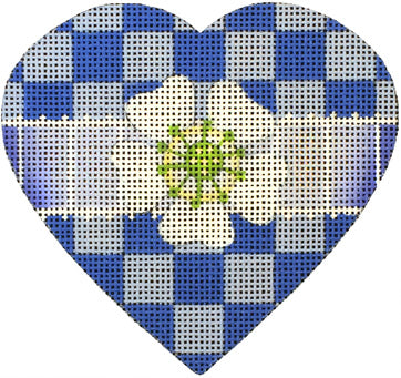 Blue Checkerboard Heart - Canvas and Stitch Guide