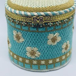 Floral Teal & Beige Hinged Box with Hardware