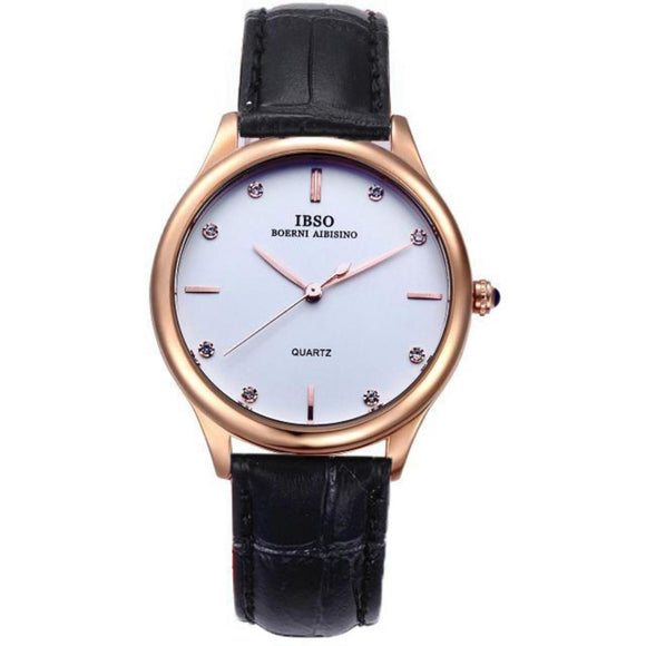 IBSO Round Casual Couple Watches Waterproof Leather Bands Quartz Watch for Lovers 3816