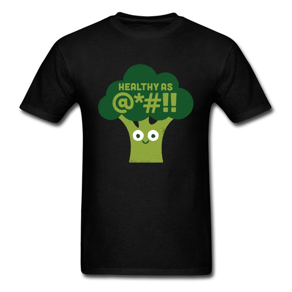 Raw Truth T-shirt Men Funny Tops Green Broccoli Saying T Shirt 100% Cotton Tee Black Tshirt Short Sleeve Clothing XXXL
