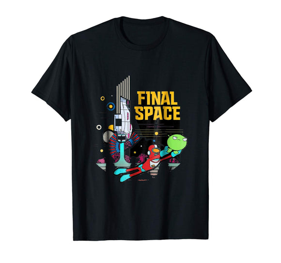 Final Space Retro Style T-shirt Brand Cotton Men Clothing Male Slim Fit T Shirt Sleeve Harajuku Tops