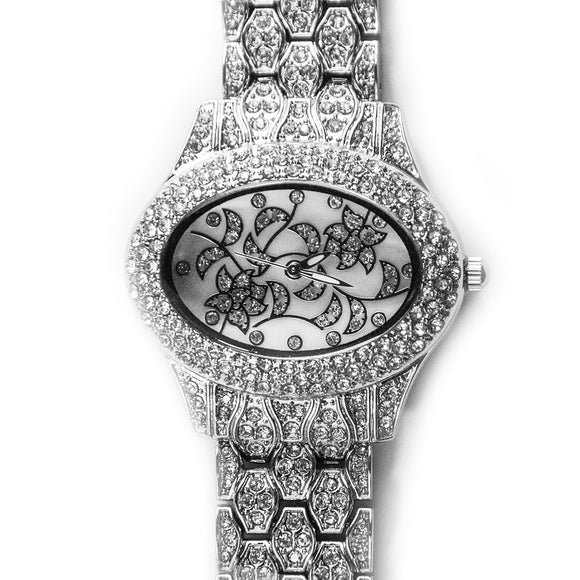 Bs sister Luxury Diamond Bedazzled Silver plated Women Watch for Ladies Fashion