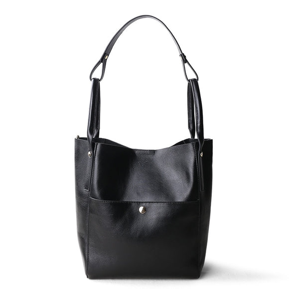 2020 leather women's bag Bucket Bag Tote sub mother bag wide shoulder belt leather deformable Single Shoulder Handbag