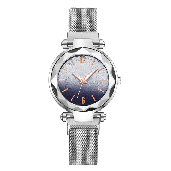 DropShipping Silver Women Watch Top Brand Luxury Magnetic Starry Sky Lady Wrist Watch Mesh Female Clock For relogio feminino