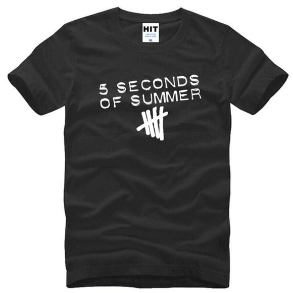 Punk Rock 5SOS 5 Seconds of Summer Printed T Shirt Men Summer Short Sleeve O-Neck Cotton Men's T Shirt Men Top Tee Fans Clothing