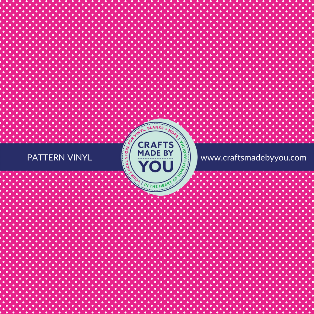 "12"" x 12"" Pattern Adhesive Vinyl- Pink with White Polkadots"