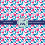 "12"" x 12"" Heat Transfer Vinyl- Teal & Pink Big Hearts White Background"