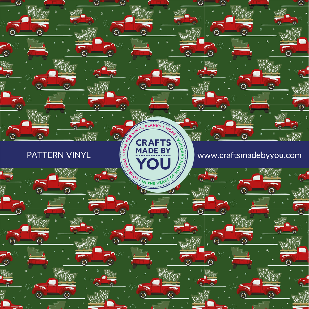 "12"" x 12"" Pattern Adhesive Vinyl- Red Truck on Green"