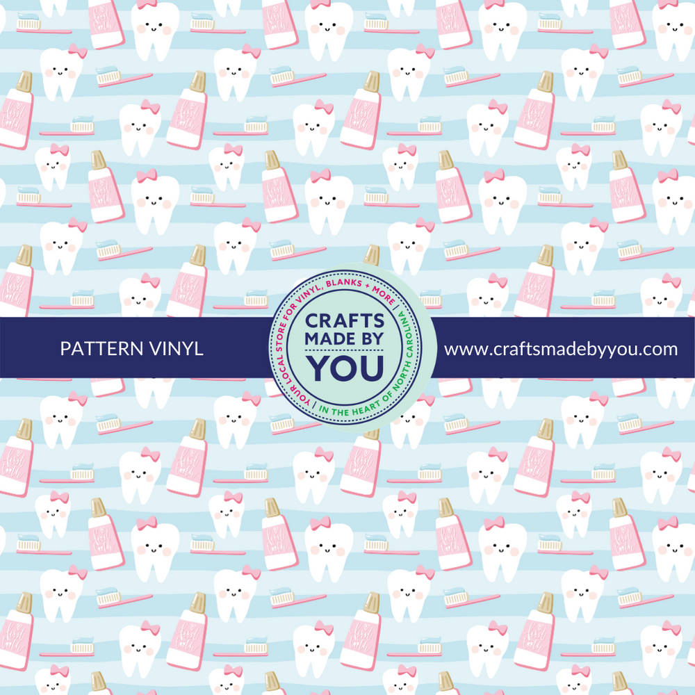 "12"" x 12"" Pattern Adhesive Vinyl- First Tooth Pattern Blue"