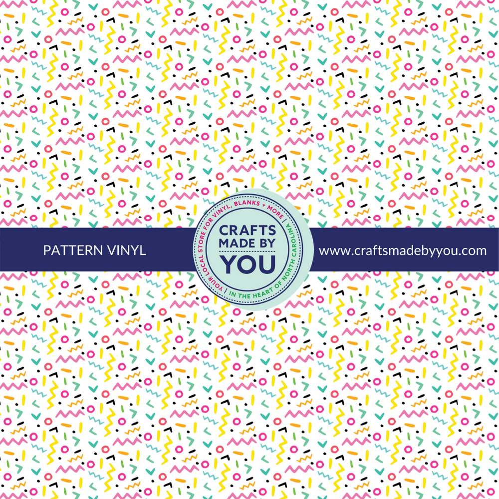 "12"" x 12"" Pattern Adhesive Vinyl- 90's Party"