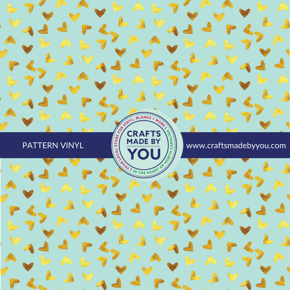 "12"" x 12"" Pattern Adhesive Vinyl- Teal & Gold Foil Heart"