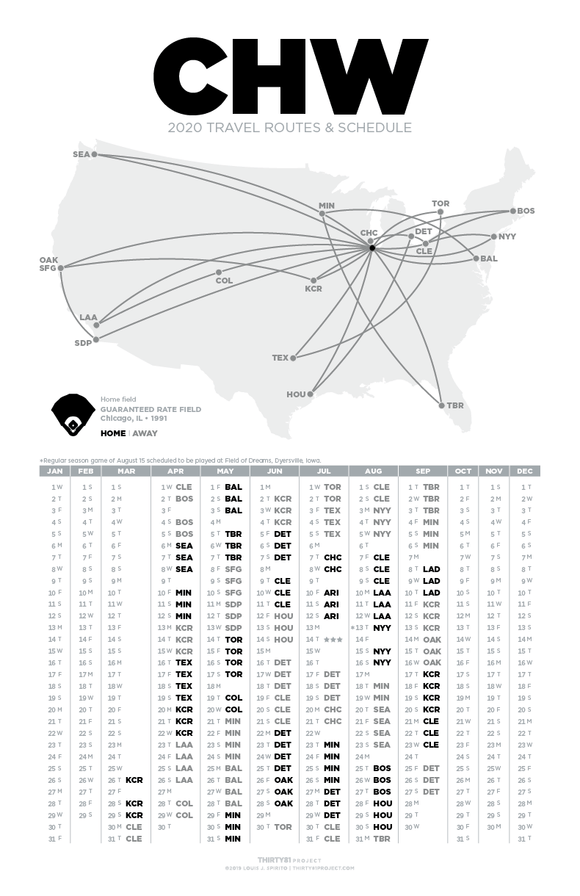 Guaranteed Rate Field / CHW<br>2020 Routes & Schedule