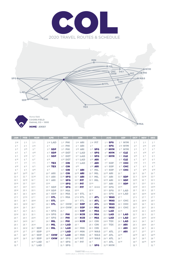 Coors Field / COL<br>2020 Routes & Schedule
